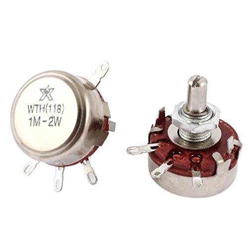 2w Single (sourcingmap® 2 Stk Single Drehung Taper Carbon Potentiometer 2W Watt 1M Ohm WTH118 de)