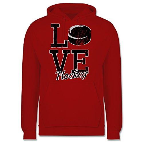 Eishockey - Love Hockey - Männer Premium Kapuzenpullover / Hoodie Rot