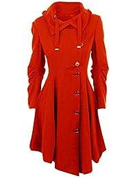 Keamallltd Moda Largo Medieval Trench Coat Mujeres Invierno Negro Stand Collar Gótico Abrigo Mujeres Elegante Abrigo