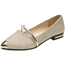 Zapatos mujer primavera verano ❤️ Amlaiworld Sandalias de verano con plataforma Mujer  Zapatos planos Casual del talón bajo de señoras Zapatos de planas Zapatos de playa Calzado zapatillas Mujer sneakers mujer cuna (Oro, 37)