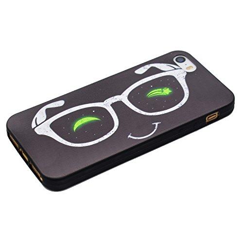 Coque iPhone SE, Coque iPhone 5S, Coque iPhone 5, TPU Case Cover Étui pour iPhone SE / 5S / 5,ikasus® Coque iPhone SE / 5S / 5 Silicone Étui Housse Téléphone Couverture TPU avec Motif peint coloré Ult Des lunettes