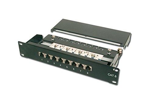 DIGITUS Professional CAT 6 Patchpanel 8-Port – Geschirmtes Patchfeld der Klasse E zum Auflegen von Netzwerkverlegekabel