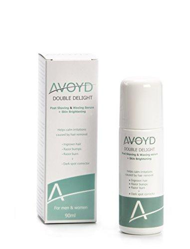 AVOYD Double Delight 90ml vermeidet eingewachsene Haare, Rasierbrand und Rasierpickel + Dunkle Hautflecken