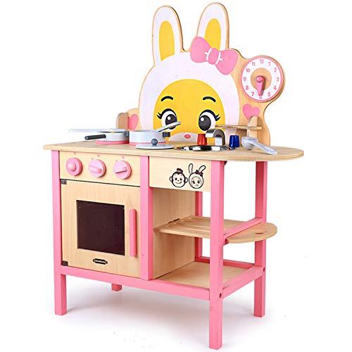 XCXDX Simpatici Giocattoli da Cucina in Legno di Coniglio, Interazione Genitore-Figlio, Giocattoli per L\'illuminazione dei Bambini, Assemblaggio Fai-da-Te, Cucina Simulata