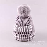 ETMAAA Winter Kinder Hut Baby Mütze Lächeln Wollmütze Warme Mütze Dicke Strickmütze