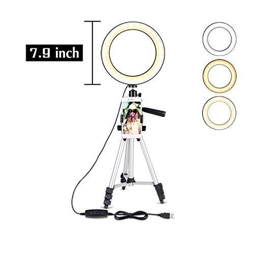 inglicht mit Stativ für YouTube Video und Selfie/Make-up, Mini LED Kamera Licht mit Handyhalter Tischlampe 3 Lichtmodi & 11 Helligkeitsstufen ()