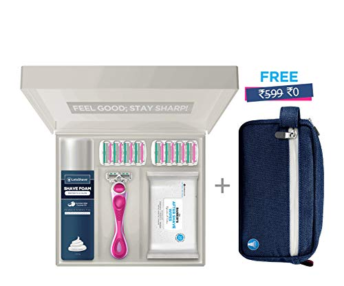 LetsShave Soft Touch 4 Premium Gift Set for Women (Blades - 8 Count, Razor Handle, Shaving Foam - 200 g, After Shave Wipes - 30 Pieces, with Free Travel Bag)