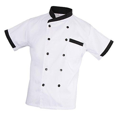 MagiDeal Damen Herren Kochjacke Bäckerjacke mit gestreiftem Stehkragen Kochkleidung Koch Küche Chef Gastronomie Berufsbekleidung - Weiß, L - 9