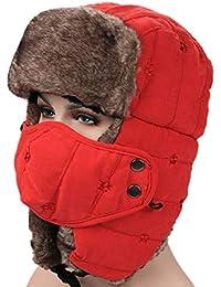 4eab6d49b68 AMAKU Winter Trapper Hat con Máscara Facial Piel Oreja Flap Trooper al Aire  Libre Ushanka Hat