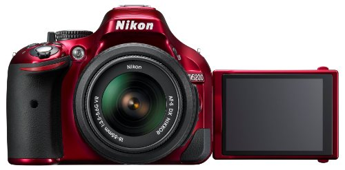 Nikon D5200 SLR-Digitalkamera (24,1 Megapixel, 7,6 cm (3 Zoll) TFT-Display, Full HD, HDMI) Kit inkl. AF-S DX 18-55 mm VR Objektiv rot - 5