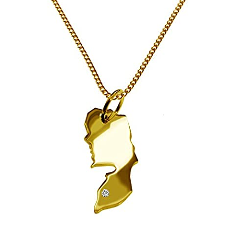Exklusiver PALÄSTINA Landkartenanhänger mit BRILLANT an Ihrem Wunschort (Position wählbar!) - inkl. Kette - massiv 585 GELB-GOLD, deutsche Handwerkskunst - 585er GOLD-SCHMUCK