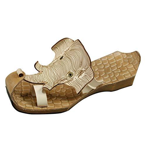 JLCP Zuecos para Mujer, Forma de Elefante Primera Capa de Piel de Vaca Sandalias Fondo Blando Antideslizante Cómodo Ocio Zapato De Playa,4,37