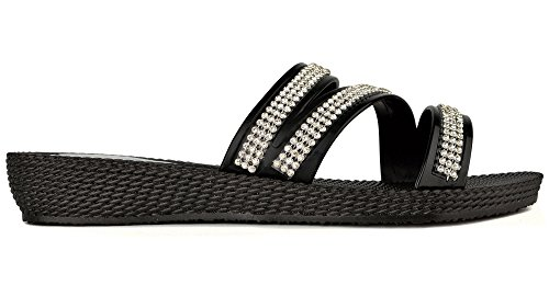 Ella Femme Strass Summer Flip Flop Ouvrez Toe Strappy Sandales Noir