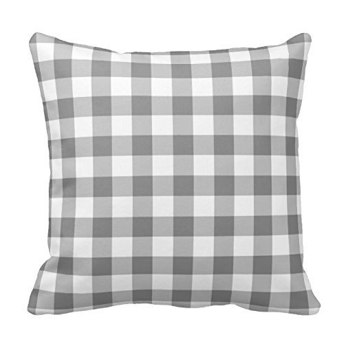 GONIESA Gray and White Plaid Gingham Chess Pattern Square Throw Pillow Cover Case Decorative for Sofa 16x16 Inch/40cmx40cm Gingham Wedges
