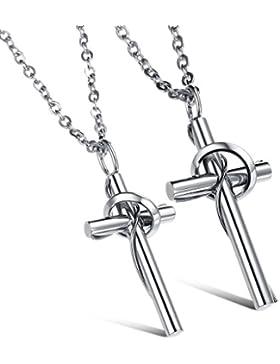 Jewow Schmuck Edelstahl Verliebte Kreuz Paar Halskette Anhänger für Sie und Ihn