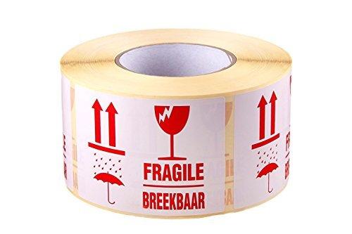 1000 x FRAGILE / BREEKBAAR selbstklebende Warnetiketten auf Rolle, 110x80mm