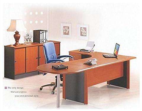 2.2 M Office Corner desk Left hand with 4 drawer pedestal & Round computer desk top (Cherry)