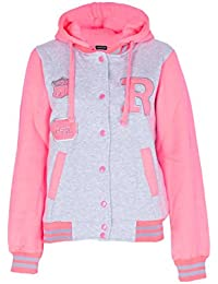 NEW KIDS GIRLS BOYS BASEBALL HOODED JACKET HOODIE R FASHION FOX 61 BLACK ROYAL BLUE RED PINK GREEN GREY CHARCOAL AGE 7 8 9 10 11 12 13 14 YEARS (13/14 Years, Grey Pink)