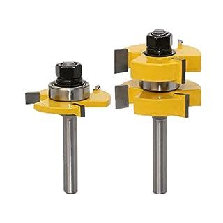 Meccion Nut- und Federfräser-Bit-Set, 8 mm Schaft 1 1/4 Zoll Stock T-Form Holz Fräser Fräser Professionelle Holzbearbeitung Cutter Werkzeuge