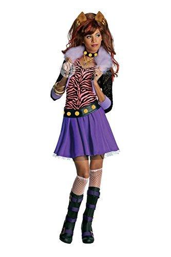 Mädchen Clawdeen Wolf Offiziell Monster High Halloween Kinder Maskenkostüm - 128 - (Clawdeen Halloween Kostüme)