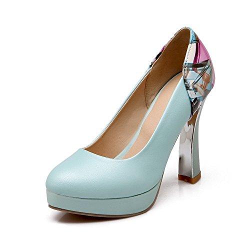 AgooLar Femme Tire à Talon Haut Pu Cuir Couleurs Mélangées Rond Chaussures Légeres Bleu