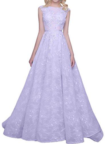 Charmant Damen 2016 Neu Spitze Hundkragen Abendkleider Partykleider Promkleider Lang A-linie Bodenlang Lilac