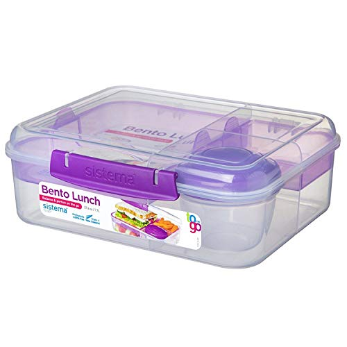 Sistema Bento Lunchbox to Go mit Fruit/Joghurt Topf, Mehrfarbig, 1,65Liter