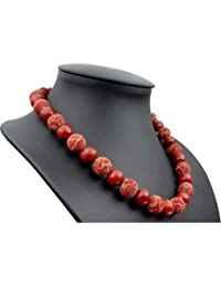 Kette Collier echte Koralle Schaumkoralle glatt & mit Poren rot orange 925 Silber Damen