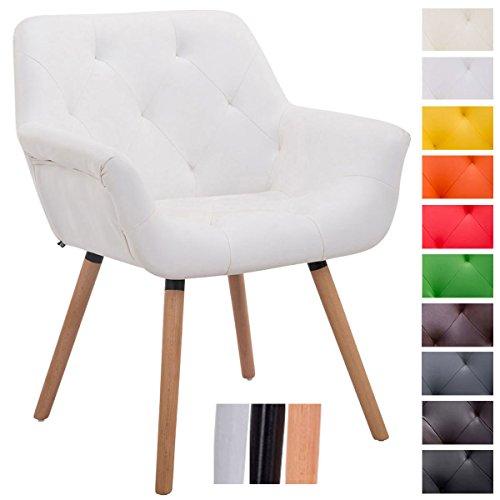 CLP Chaise de visiteurs CASSIDY, chaise retro avec accoudoirs, capacité de charge max 150 kg, cuir synthétique blanc, piètement en bois: couleur nature