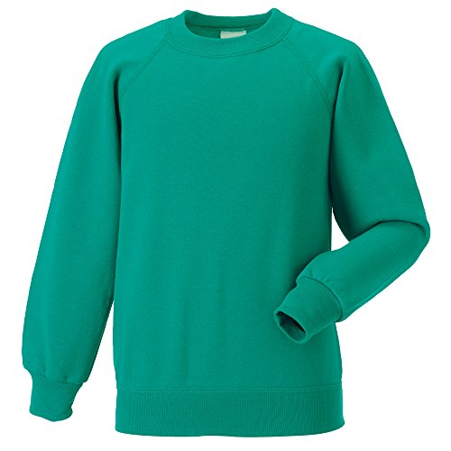 Jerzees Kids Raglan Sweatshirt 7-8 Winter Emerald - Jerzees Sweatshirt Winter