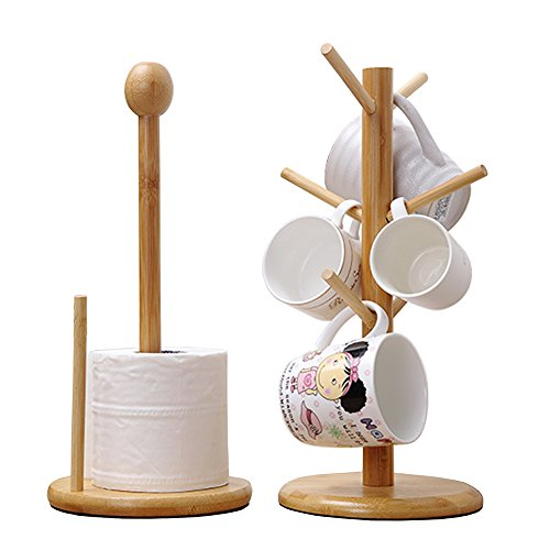 Gossipboy en bois amovible Arbre à tasses de thé en bambou Tasses à café les bottes à suspendre avec support de séchage et rouleau de papier support de Lot