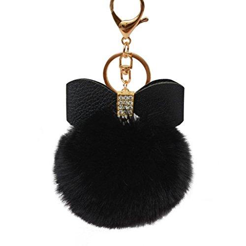 Keychain Key Ring Pendant,Sainagce 1 Pcs Elegant Bowknot Fluffy Plush Faux Fur Pom Pom Key Pendant Key Chain Key Ring Keychain Keyring for Car Handbag Bag Accessories Small Gift (Black)