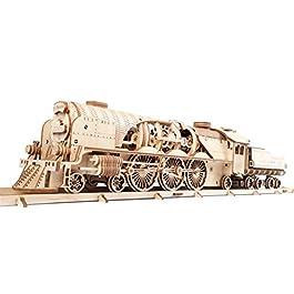 Ugears 70058 3D Express – Set di Puzzle in Legno con modellino di Locomotiva a Vapore