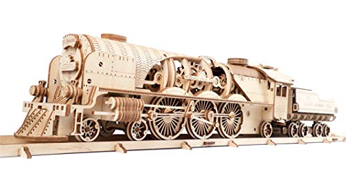 UGEARS Train en Bois Model 3D - Locomotive, Tender, Chemin de Fer - Puzzle A Encastrement Adulte, Miniature Mécanique, à Construire, Jeu Educatif Enfant, Ecologique Et Amusant, De Collection