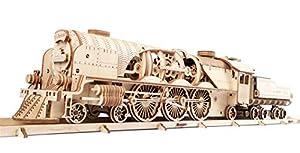 """UGEARS V-Express Tren de Vapor - Set de Construcción Puzzle 3D Locomotora Modelo Mecánico de Madera"""""""