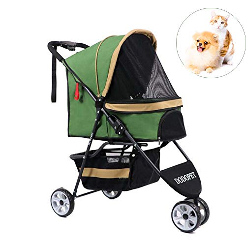 Chien/Chat/Pet 3 Wheel Stroller - Folding Pet Dog Pram Pet Carriers High-End Pet Tricycle Cat And Dog Cart Storage Fast Lightweight And Practical,Green