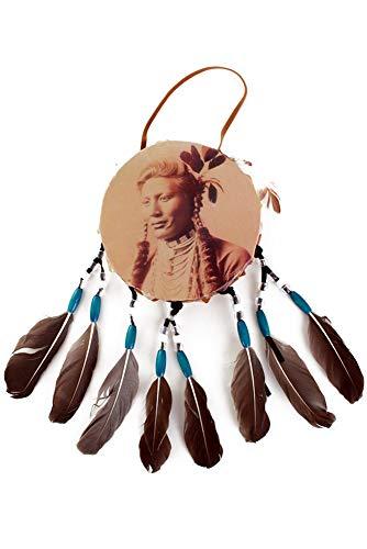 shoperama Indianer Trommel Schamanentrommel Krieg Kostüm Zubehör Braun ()
