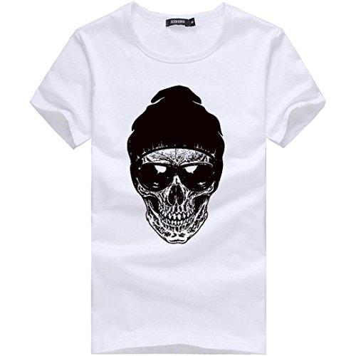 Amlaiworld m~xxxl, ragazzi teenager divertente stampa cotone t-shirts sportive uomo manica corta camicie (xl, bianco)