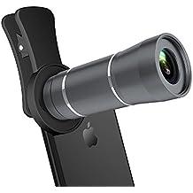 12X HD Teleobjetivo para Móvil de Doble Cámara, Maxcio Lentes para Móvil con Pinza Especial, Mini Telescopio, Lente Clip-on para iPhone X, 8/8 Plus, 7/7 Plus, 6/6s Plus, iPad, Samsung S8/S7/S6, Xiaomi, Huawei