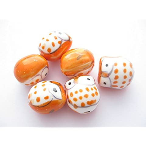 4handmade rosso-arancio famille gufo in porcellana rosa perline 17mm x 15mm. PB011 - 15 Handmade Lampwork