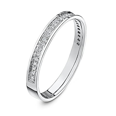 Theia 9 ct White Gold Heavy Weight, Flat Court Shape, 3 mm, 0.15 Carat Diamond Pave Set Eternity Ring - Size