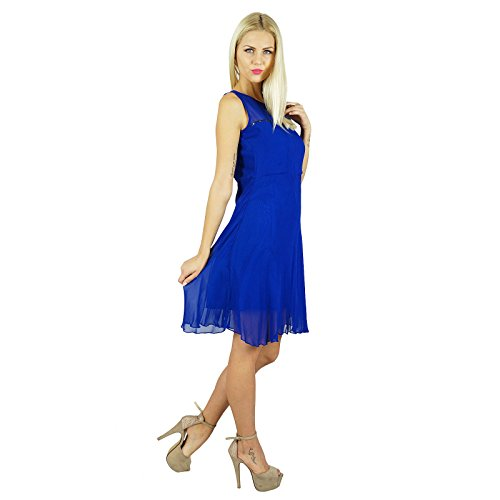 Bimba femmes Bleu Georgette Robe chasuble Sheer Georgette dessus Robe Partie genou Bleu royal