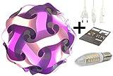 Puzzle Lampe DIY Kugellampe Stehlampe Nachttischlampe Deco Leuchte Moderne Designer Lampe Lampenschirm Tischlampe Schreibtischlampe indirektes Licht Wolkenlampe TV Leuchten selber kreativ basteln Puzzlelampe Geschenkidee Komplettset Bausatz 30 Teile + Kabel + LED S-17cm warm- lila flieder weiss
