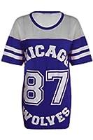 Womens Ladies Chicago 87 Wolves Baggy Oversize Baseball T Shirt Dress Long Top