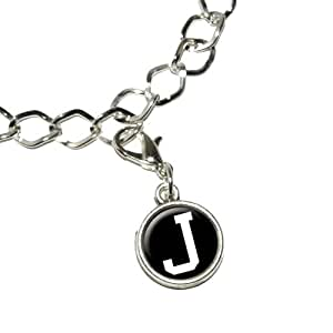 Letter J Initial Black White Silver Plated Bracelet with Antiqued Charm