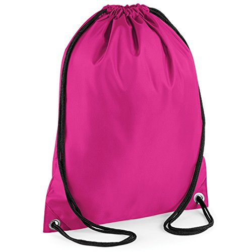Drawstring Backpack Waterproof Bag Gym PE DUFFLE School Kids Boys Girls Sack (Bright Pink)