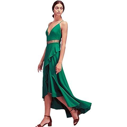 Canotta con scollo profondo a V e fondo posteriore più lungo asimmetrico Balze Ruches Volant Frill Lungo Lunga Maxi Lunghi Skater Dress Vestito Abito Verde