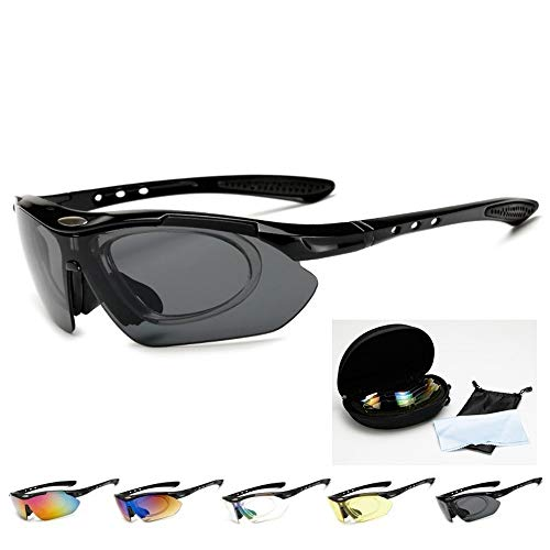 5 Bezahlsets Outdoor-Sport-Fahrradbrille mit explosionsgeschützter Myopie-PC-Sonnenbrille Brille (Color : Red Frame-5 Lens)