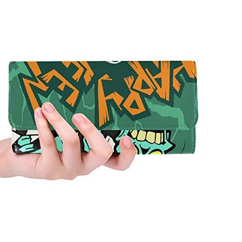 Einzigartige Bunte Halloween-Karikatur-Gruß-Karten-furchtsame Frauen-dreifachgefaltete Mappen-Lange Geldbeutel-Kreditkarte-Halter-Fall-Handtasche