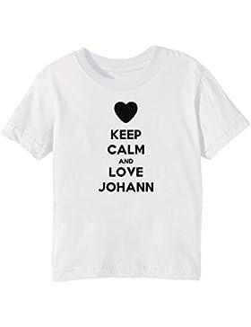 Keep Calm And Love Johann Bambini Unisex Ragazzi Ragazze T-Shirt Maglietta Bianco Maniche Corte Tutti Dimensioni...